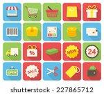 shopping icons set  flat design ... | Shutterstock .eps vector #227865712
