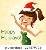 cute dancing santa helper | Shutterstock .eps vector #227879776