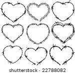 barbwire heart patterns   Shutterstock .eps vector #22788082