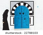 muslim woman in the little town ... | Shutterstock .eps vector #22788103