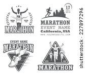 Set Of Running Marathon And...