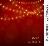 golden led christmas lights... | Shutterstock .eps vector #227906392