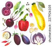 watercolor vegetables and herbs.... | Shutterstock .eps vector #227926105