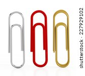 Paper Clips Isolated On White...
