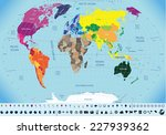 high detailed world map with... | Shutterstock .eps vector #227939362