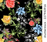beautiful watercolor flowers... | Shutterstock . vector #227943916