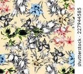 colorful iris seamless pattern... | Shutterstock . vector #227944585
