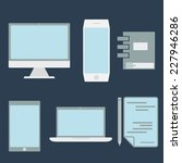 flat design office elements and ...