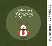 christmas design over green... | Shutterstock .eps vector #227955172