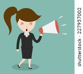 business woman with a megaphone ... | Shutterstock .eps vector #227957002