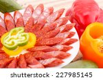 fresh sausages and vegetables... | Shutterstock . vector #227985145