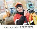 One Surveyor Worker Working...