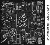 set of vintage cosmetics... | Shutterstock .eps vector #228004345