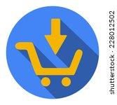 shopping cart flat blue simple...
