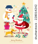 christmas santa claus reindeer... | Shutterstock .eps vector #228014242