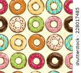 pattern with bright tasty donuts | Shutterstock .eps vector #228017485
