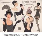 flapper girl set  retro women... | Shutterstock .eps vector #228029482
