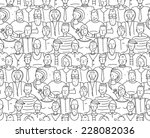 black and white people throng... | Shutterstock .eps vector #228082036