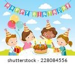children birthday party   Shutterstock .eps vector #228084556