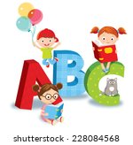 kids with books | Shutterstock .eps vector #228084568