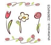 outlined hand drawn flower... | Shutterstock .eps vector #228096925