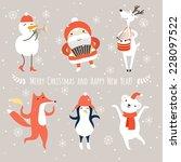 christmas cartoon characters ... | Shutterstock .eps vector #228097522