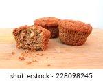 bran muffins on wooden... | Shutterstock . vector #228098245