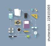 flat design objects on work...   Shutterstock .eps vector #228101005