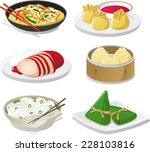 chinese dish illustration icons   Shutterstock .eps vector #228103816