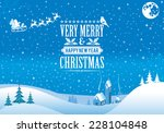 Christmas background with Retro Label, Tree, Santa, House, Bullfinch. Vector Template for Cover, Flyer, Brochure.
