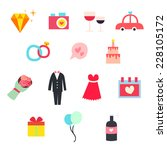 wedding icons   valentines... | Shutterstock .eps vector #228105172