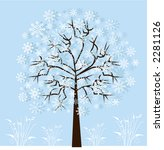Winter Snowflake Tree With...