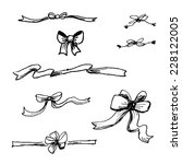 set of hand drawn ribbons and...   Shutterstock .eps vector #228122005