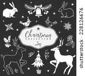 chalk set of decorative festive ... | Shutterstock .eps vector #228126676