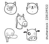 set of cute cartoon farm animals   Shutterstock .eps vector #228139522