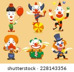 Set Of Six Clown Performing...