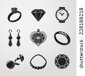 jewelry monochrome icons set...   Shutterstock .eps vector #228188218