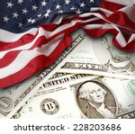 American Flag And Banknotes
