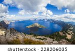 wide angle view of Crater Lake form the top of Watchman
