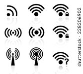 set black  wireless and wifi... | Shutterstock . vector #228206902