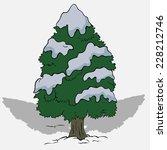christmas tree in snow | Shutterstock .eps vector #228212746