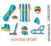Vector Icon Set Of Winter Spor...