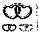 Vector Linked Hearts Black...