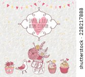 romantic vintage card in pink... | Shutterstock .eps vector #228217888