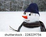 snow man standing close up | Shutterstock . vector #228229756