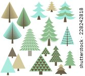 retro christmas trees   set of... | Shutterstock .eps vector #228242818