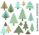 retro christmas trees   set of... | Shutterstock .eps vector #228242818