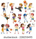 kids playing various sports on... | Shutterstock .eps vector #228253495