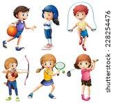 kids playing sport on white | Shutterstock .eps vector #228254476