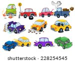 car accidents set on white   Shutterstock .eps vector #228254545